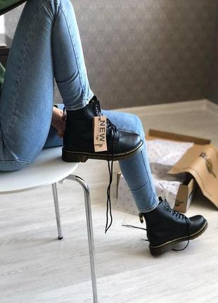 Шикарные кожаные ботинки/ сапоги dr. martens 1460 black fur ун...