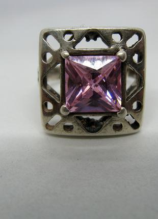 Серебряное кольцо, серебро 875, фианит, р-р 17