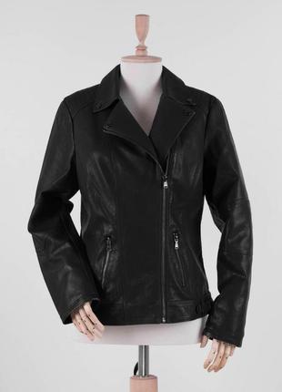 Женская чёрная куртка кожаная косуха большой размер