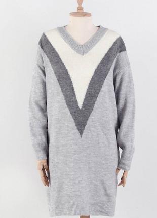Женское серое вязаное платье туника