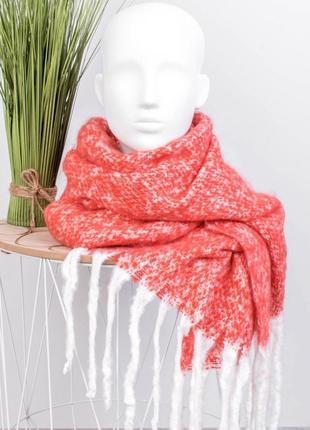 Женский розовый коралловый шарф шарфик плюшевый