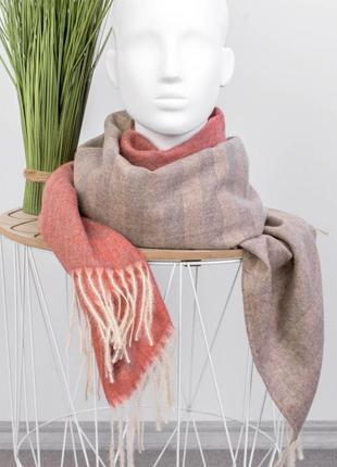 Женский розовый коралловый шарф бежевый