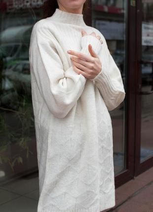 Женская белая туника платье вязаная
