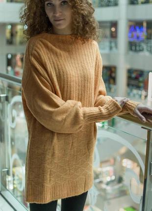 Женское жёлтое платье туника свитер теплое вязаное