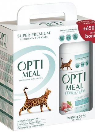 Корм для котов Оптимил Sterilised с индейкой и овсом1.3кг=182грн