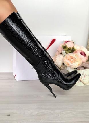 ❤невероятные женские стильные черные высокие сапоги на шпильке ❤