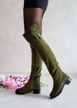 ❤ женские замшевые зимние высокие сапоги ботфорты цвета хаки  ❤