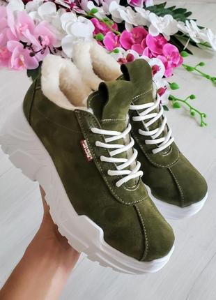 ❤невероятные женские стильные зимние кроссовки цвета хаки ❤