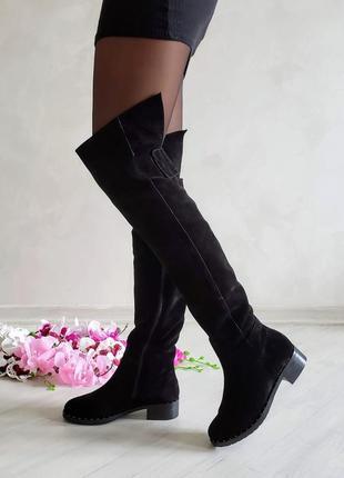 ❤ женские черные замшевые демисезонные осенние высокие сапоги ...