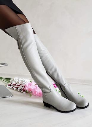 ❤ женские белые кожаные демисезонные осенние высокие сапоги бо...