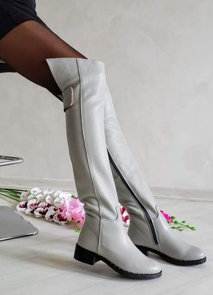 ❤ женские белые кожаные зимние высокие сапоги ботфорты  ❤