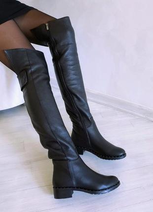 ❤ женские черные кожаные зимние высокие сапоги ботфорты  ❤