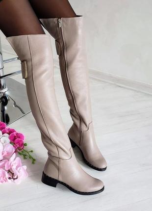 ❤ женские бежевые кожаные  демисезонные осенние высокие сапоги...