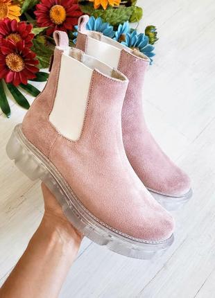 ❤женские пудровые замшевые  осенние / весенние низкие ботинки ...