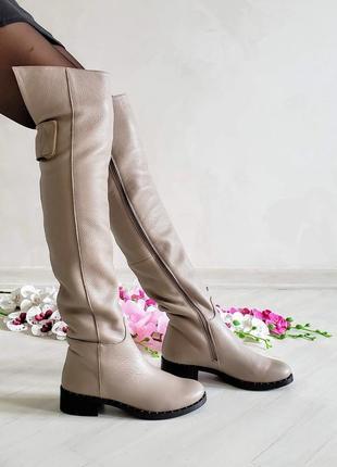 ❤ женские бежевые кожаные зимние высокие сапоги ботфорты  ❤