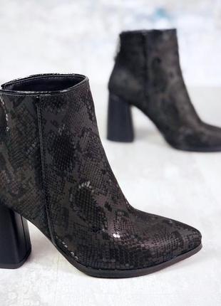❤невероятные женские  черные кожаные демисезонные осенние боти...