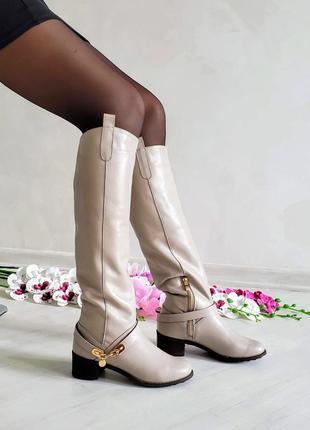 ❤ женские бежевые кожаные демисезонные осенние высокие сапоги  ❤