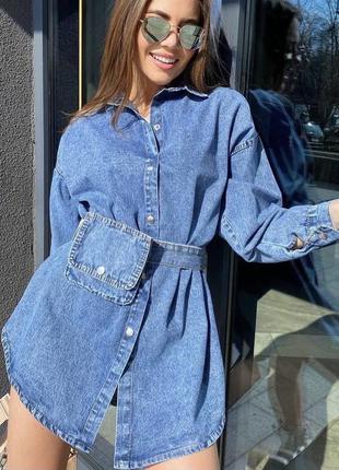 Джинсовое платье-рубашка oversize