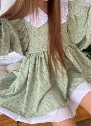 Салатовое цветочное платье