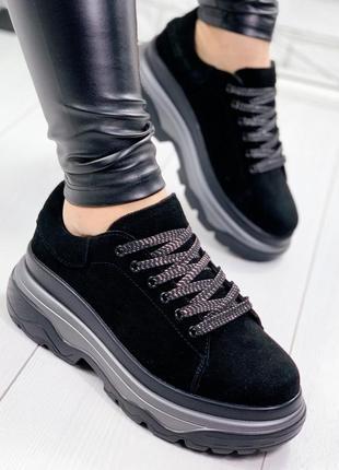 ❤невероятные женские черные замшевые кроссовки  ❤