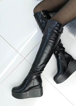 ❤невероятные женские черные зимние  сапоги ботфорты ❤