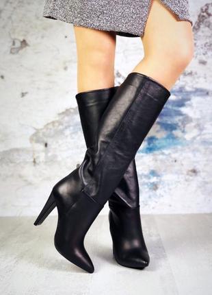 ❤ женские черные кожаные   сапоги-трубы на итальянском плоском...