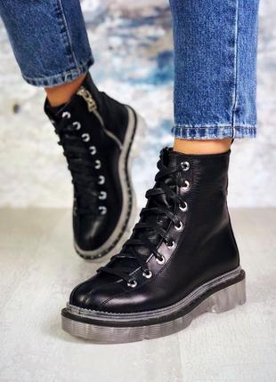 ❤ женские черные демисезонные осенние кожаные ботинки ботильон...