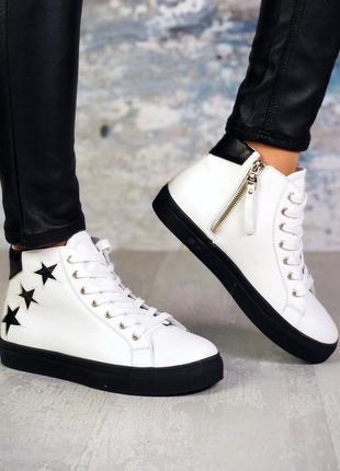 ❤невероятные женские белые демисезонные осенние кожаные ботинк...