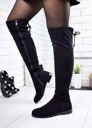 ❤ женские черные демисезонные осенние сапоги ботфорты ❤