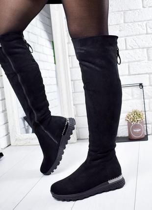 ❤ женские черные зимние  высокие сапоги ботфорты ❤