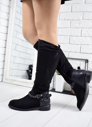 ❤ женские черные  демисезонные осенние сапоги сапожки на флисе ❤