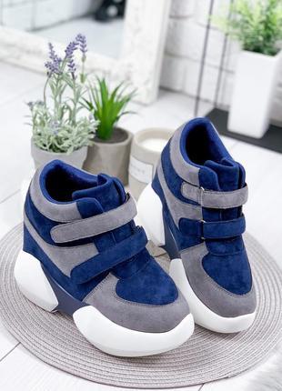 ❤ женские синые кроссовки сникерсы на танкетке ❤
