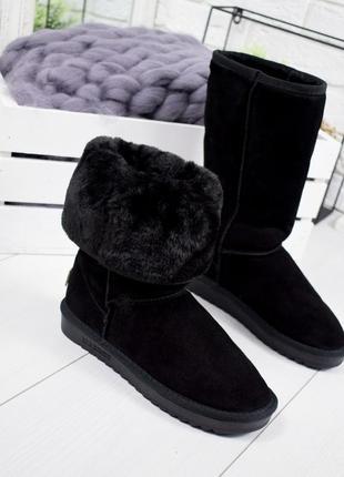 ❤ женские черные зимние угги споги валенки на меху ❤