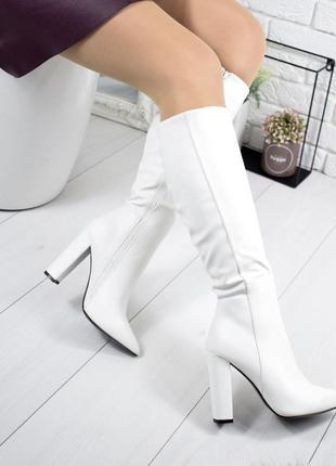 ❤ женские белые демисезонные осенние сапоги на флисе ❤