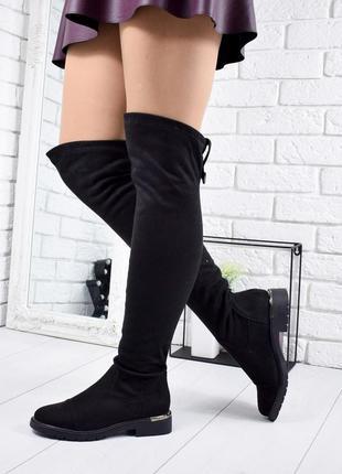 ❤ женские черные демисезонные осенние сапоги ботфорты сапожки ...