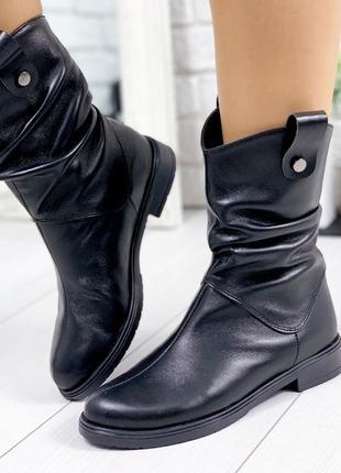 ❤ женские черные кожаные демисезонные осенние ботинки сапоги с...