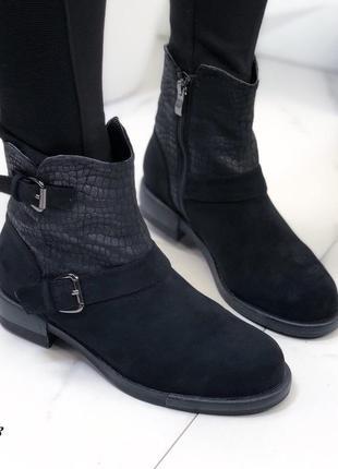 ❤невероятные женские черные осенние демисезонные ботинки сапог...