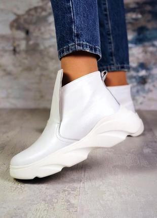 ❤женские белые зимние кожаные хайтопы ботинки сапоги валенки н...