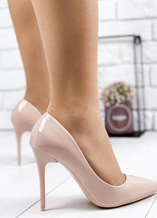 ❤женские пудровые лаковые  туфли лодочки на высоком каблуке ❤