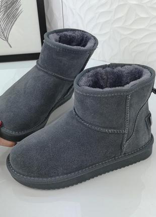 ❤женские серые зимние замшевые низкие угги ботинки сапоги вале...
