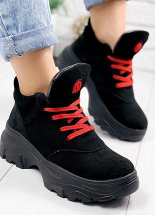❤ женские черные демисезонные осенние замшевые кроссовки ботин...