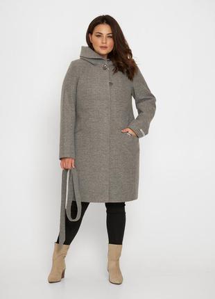 Пальто с капюшоном blnt 186 цвет серый, качество