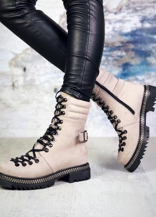 ❤ женские бежевые зимние ботинки сапоги сапожки на меху ❤