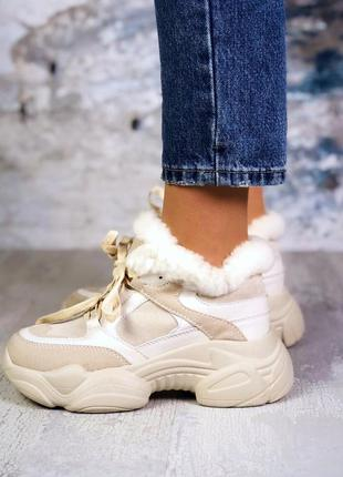 ❤ женские бежевые замшевые зимние кроссовки ботинки сапоги сап...