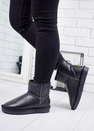 ❤ женские черные  зимние низкие угги ботинки сапоги валенки  н...