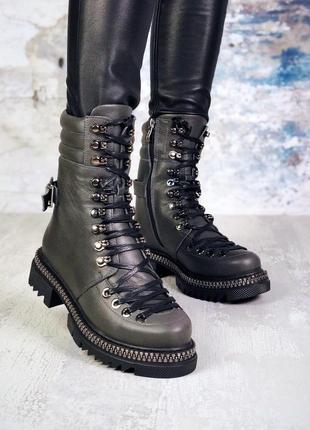 ❤ женские графитовые серые демисезонные осенние ботинки сапоги...