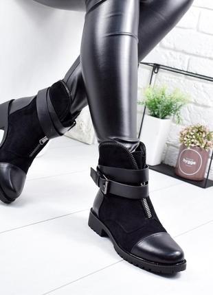 ❤ невероятные женские черные демисезонные осенние ботинки сапо...