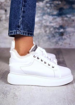 ❤ женские белые зимние кожаные кроссовки ботинки  на меху  с р...