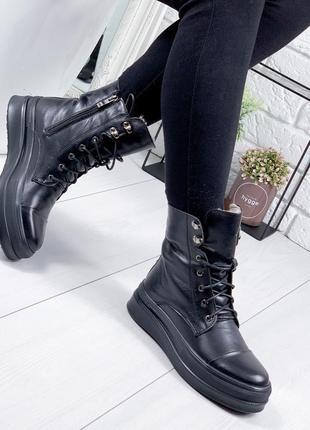 ❤ женские черные зимние кожаные ботинки сапоги валенки  на меху ❤