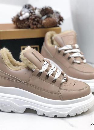 ❤ женские бежевые зимние кроссовки ботинки сапоги валенки на п...